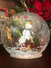 Winter Days Glass Christmas Dome with LED Lights