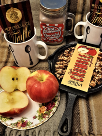 WINTER DELIGHT apple crumble kit, mugs and hot chocolates