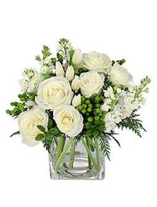 Winter Dreams White roses & Green berries