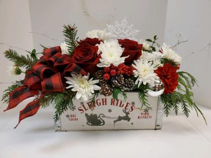 Winter Flower Box Arrangement