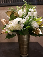 Winter Gold Glass Vase Arrangement