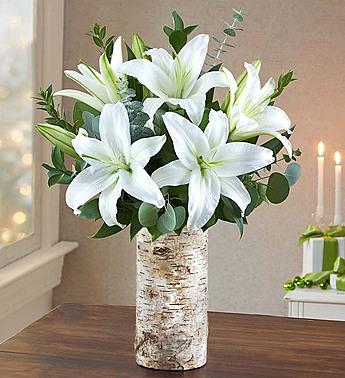 Winter Lilies in a Birch Vase Arrangement