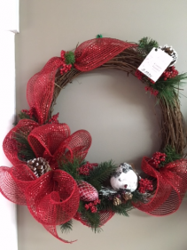Winter Nesting Wreath Silk Wreath Arrangement