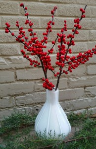 Winter Pear Vase with Ilex Berries