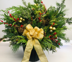 Winter Pot with Gold Bow  in Fitchburg, MA | CAULEY'S FLORIST & GARDEN CENTER