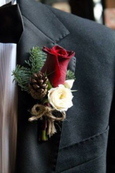 Winter Season Boutonniere Wedding