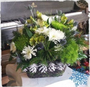 Winter Snowfall Fresh Basket Arrangement in Auburn, AL | AUBURN FLOWERS & GIFTS
