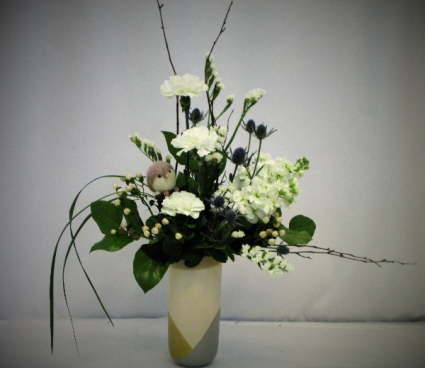 BIRD IN THE WINTER TIME FRESH FLOWER ARRANGEMENT - LIMITED QTY