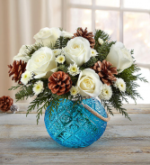 Winter Warmth Keepsake Hanging Blue Candle Globe