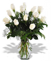 Winter white roses arranged