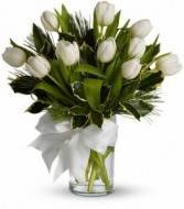 Winter White Tulips vase