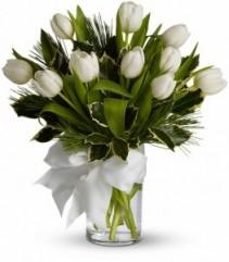 Winter White Tulips vase