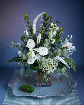 Winter White Vase Vase Arrangement, Loose