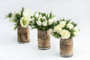 Winter Whites Trio  Centrepiece  in Oakville, ON | ANN'S FLOWER BOUTIQUE-Wedding & Event Florist
