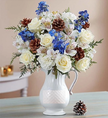 Winter Wishes Bouquet™ in a Pitcher Arrangement