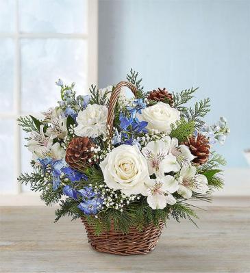 Winter Wishes in Willow Basket All-around basket arrangement