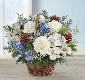 Winter Wishes in Willow Basket Arrangement