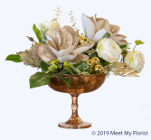 Winter Wonder ***Faux Flowers***Pedestal Dish