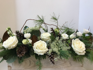 Winter Wonderland extra long box arrangement in Northport, NY | Hengstenberg's Florist