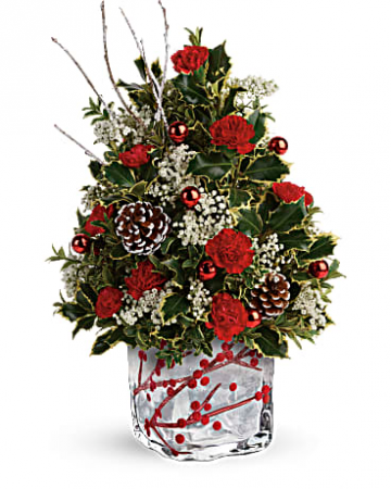 Winterberry Tree in cube vase  Christmas Tree