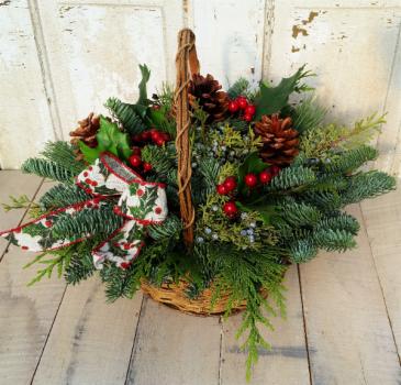 Wintergreens Basket Arrangement