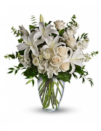 All white and cream bouquet  Vase