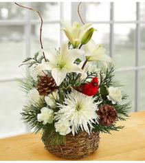 Wintertime Birds Nest of Flowers Arrangement