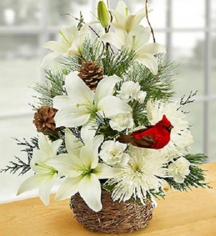 Wintertime Birds Nest of Flowers Basket