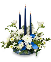 Bright White & Blue Centerpiece