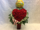 With All my heart  Red Carnation heart shaped vase arrangement