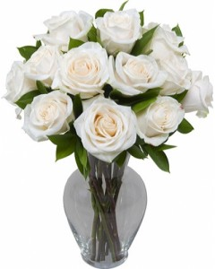 With Honor dozen white roses