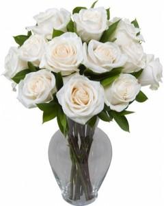 With Honor dozen white roses