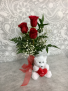 With Love and Hugs  3 Red Rose vase with Teddy Bear
