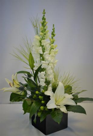 WONDERFUL IN BLACK AND WHITE FRESH FLOWER ARRANGEMENT