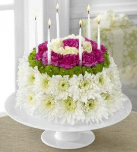 Wonderful Wishes Floral Cake Birthday Arrangement in Langford, BC | PETALS N BUDS METCHOSIN FLORIST
