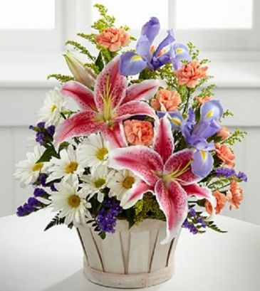 Wonderous Nature Basket Fresh Flowers with Star Gazer Lilies