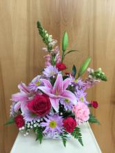Wonderously Pink Basket Arrangemnet