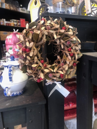 Wood and Cherry Small Christmas Wreath Gift Item