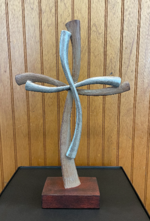 Wood and Metal Tabletop Cross  in Yankton, SD | Pied Piper Flowers & Gifts