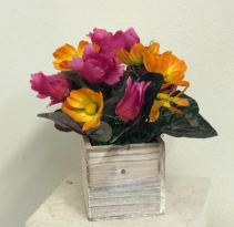 Wood box with pink and orange silk flowers Silk Arrangement