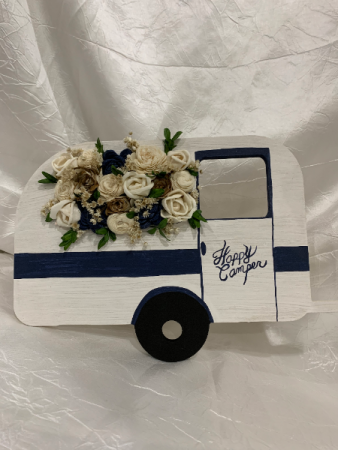 Wood Camper with Wood Flowers