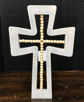Wood Cross with Beads