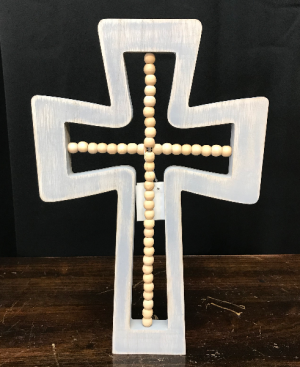 Wood Cross with Beads  in Yankton, SD | Pied Piper Flowers & Gifts