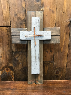 Wood Cross with Nails  in Yankton, SD | Pied Piper Flowers & Gifts