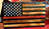 Wood Flag Red line