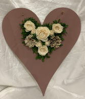 Wood Heart Cutout with Wood Flowers