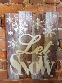 Wood Let in Snow Sign