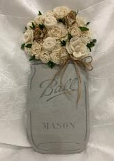 Wood Mason Jar Cutout with Wood Flowers