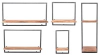 Wooden and Metal Wall Shelves Set of 5
