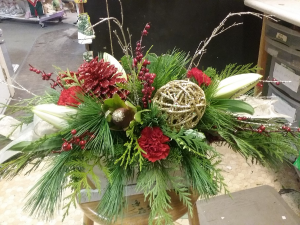 Wooden Beauty white wash sleigh arrangement in Mitchell, ON | FLORAL TREASURES